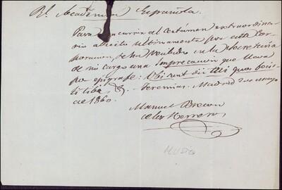 Documento de Manuel Bretón de los Herreros conforme ha recibido una precaución en su despacho escrita en latín : [ [manuscrito]