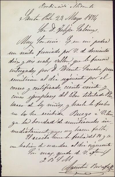 Carta de Agustín Burofell dirigida a Felipe Palcines : [ [manuscrito]