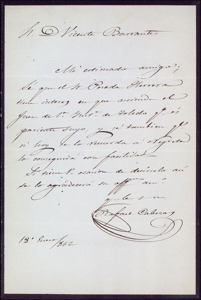 Carta de Rafael Cabezas a Vicente Barrantes [ [Manuscrito]