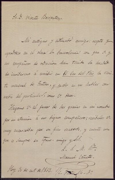 Carta de Manuel Cañete dirigida a Vicente Barrantes : [ [manuscrito]