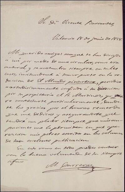 Carta de Mariano Carreras y González dirigida a Vicente Barrantes : [ [manuscrito]