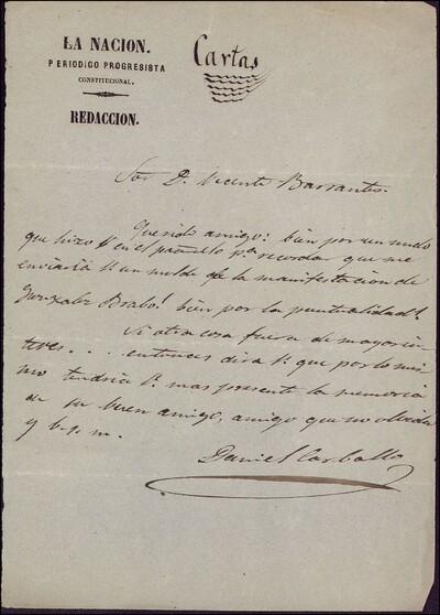 Carta de Daniel Carballo dirigida a Vicente Barrantes : [ [manuscrito]