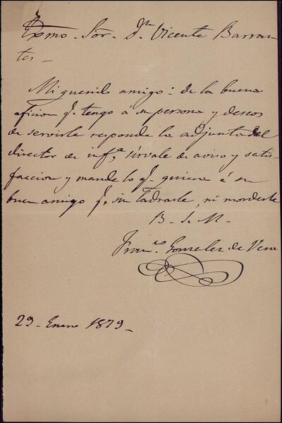 Carta de Francisco González de Vera a Vicente Barrantes [ [Manuscrito]