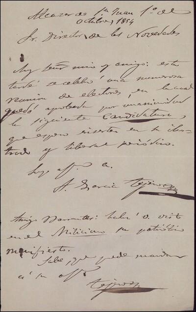 Carta de Alfonso García Tejero a Vicente Barrantes [ [Manuscrito]