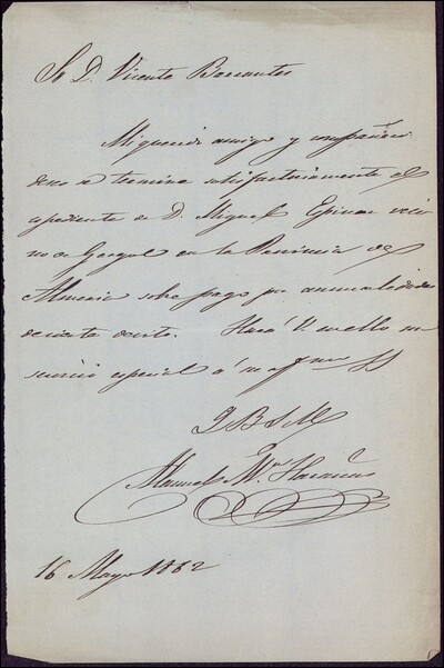 Cartas de Manuel Mª [Haraicu] dirigida a Vicente Barrantes : [ [manuscrito]