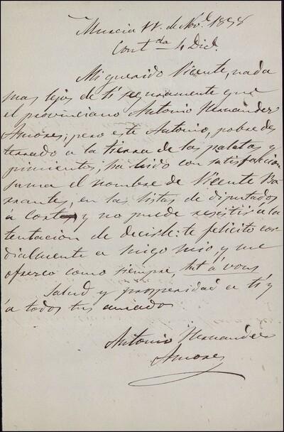Carta de Antonio Hernández Azores dirigida a Vicente Barrantes : [ [manuscrito]