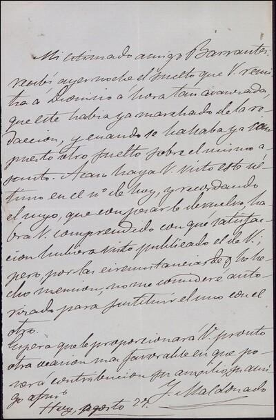 Carta de [J.] Maldonado a Vicente Barrantes [ [Manuscrito]