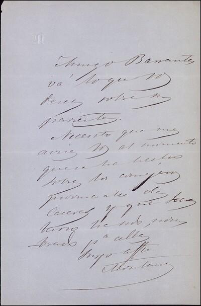 Carta dirigida a Vicente Barrantes [ [Manuscrito]