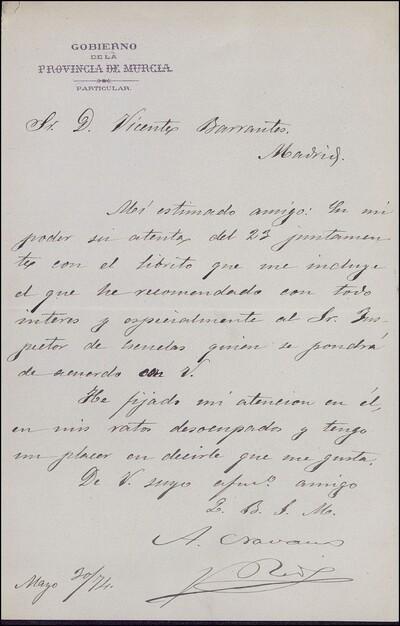 Carta de A. Navarro y Ríos dirigida a Vicente Barrantes : [ [manuscrito]