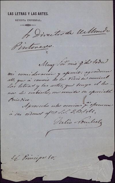 Carta de Julio Nombela dirigida al director de El Mundo Pintoresco Vicente Barrantes : [ [manuscrito]