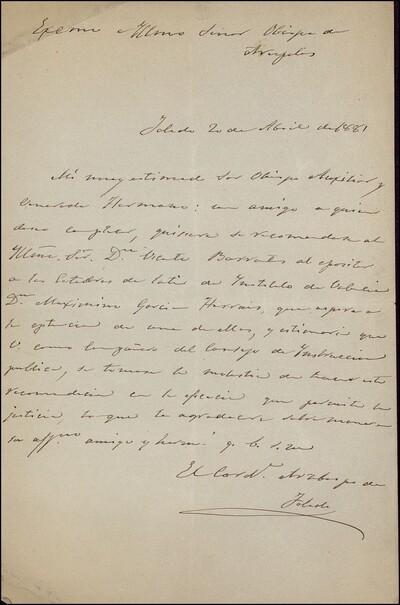 Carta del arzobispo de Toledo dirigida al Obispo de Areópolis : [ [manuscrito]