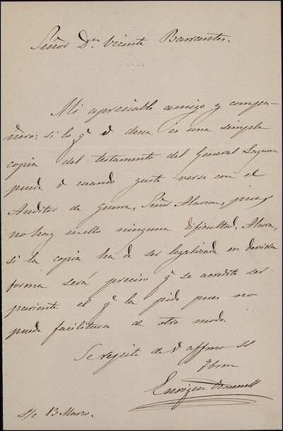 Carta de Enrique O'Donnell a Vicente Barrantes [ [Manuscrito]