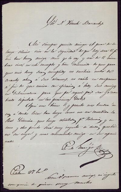 [Carta de F. Garrigo a Vicente Barrantes] [ [Manuscrito]