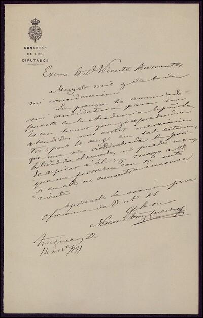 Carta de Nemesio Fernández Cuesta a Vicente Barrantes [ [Manuscrito]