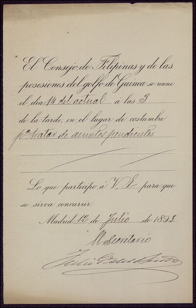 Documento en el cual se insta a Vicente Barrantes a asistir a la reunión del Consejo de Filipinas y de las posesiones del golfo de Guinea : [ [manuscrito]