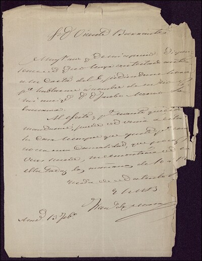 [Carta dirigida a Vicente Barrantes] [ [Manuscrito]