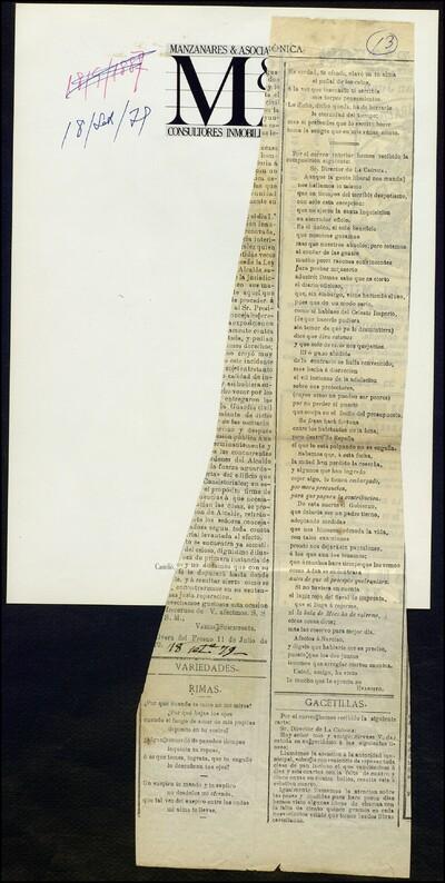 Rimas : [poemas publicados en la sección de Variedades del periódico La Crónica] /