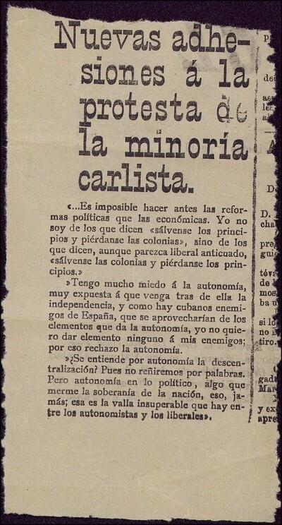 Nuevas adhesiones á la protesta de la minoría carlista