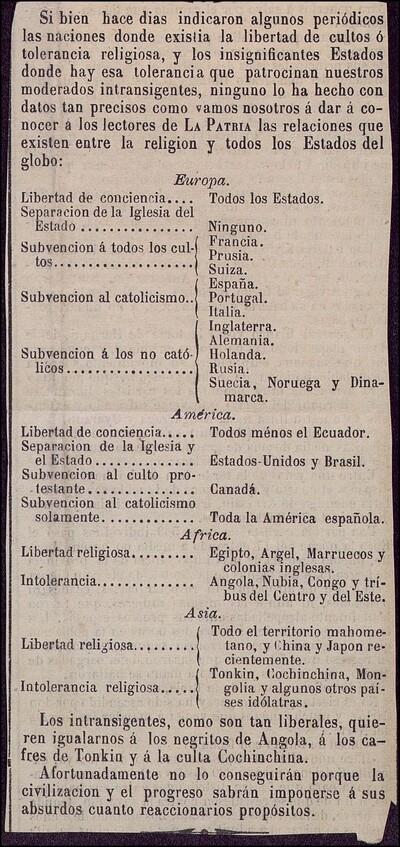 [Artículo sobre la libertad de culto o tolerancia religiosa en otros países]