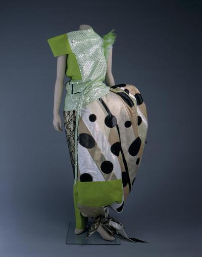 Damesensemble voor Robijn Fashion Award 1997 'Caught in colour' bestaande uit lijf, broek en heupvulling
