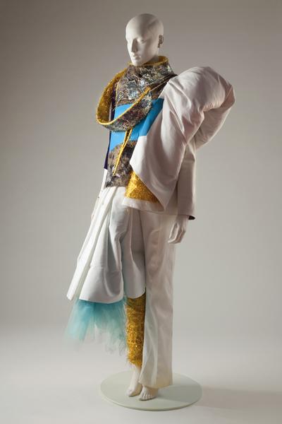 Damesensemble voor Robijn Fashion Award 1997 'Caught in colour' bestaande uit lijfje, overlijf, broekrok en beenwarmer
