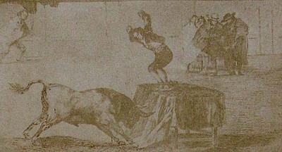 Francisco de Goya y Lucientes. An exploit of Martincho in the bull-ring at Zaragoza. From Goya´s Treinta y tres Estampas que representen diferentes suertes y actitudes del arte de lidiar los Toros