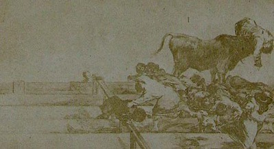 Francisco de Goya y Lucientes. Death of the Alcalde of Torrejon, on the stone seats in the bull-ring at Madrid. From Goya´s Treinta y tres Estampas que representen diferentes suertes y actitudes del arte de lidiar los Toros