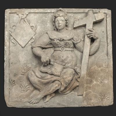 Gevelsteen met personificatie van het 'Geloof' (pendant 10006 'Hoop')