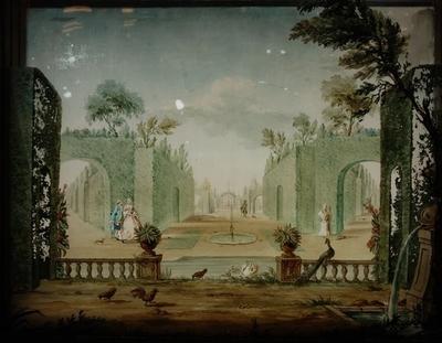 Perspectiefkastje met vier beschilderde glasplaten, ''t plesierigh buijtenleven'