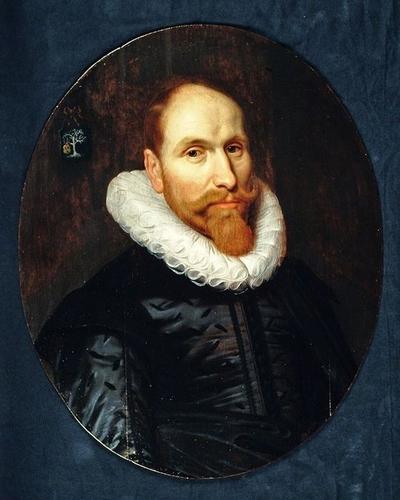 Ovaal portret van Eeuwout Eeuwoutsz. Prins (circa 1590-1636), man met molensteenkraag en baard