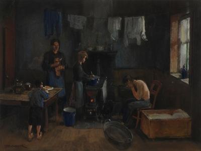 Pastel: bij de warmte van steenkolen wast en droogt men, armoedig interieur
