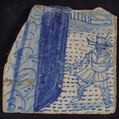 Losse tegel van tableau 'Hoop', waarop een zaaier in blauw