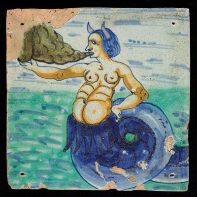 Polychrome tegel met zeewezen