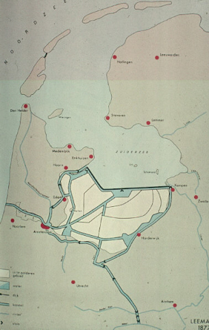 Inpolderingsplan Zuiderzee en varianten Markerwaard van 1667 tot heden. Leemans, 1877.