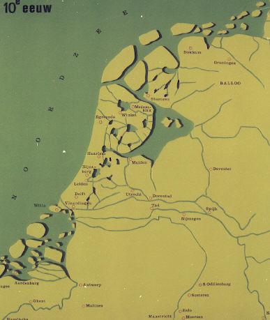 Kaart van Nederland: Tiende eeuw.