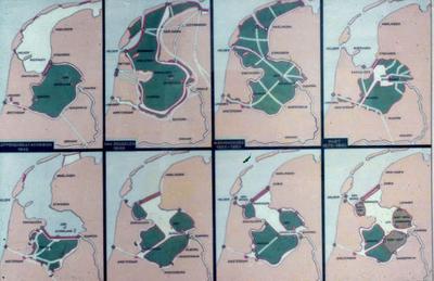 Kaart van Nederland: Varianten inpoldering Zuiderzee.