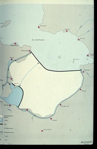 Inpolderingsplan Zuiderzee en varianten Markerwaard van 1667 tot heden. Mussert, 1921.