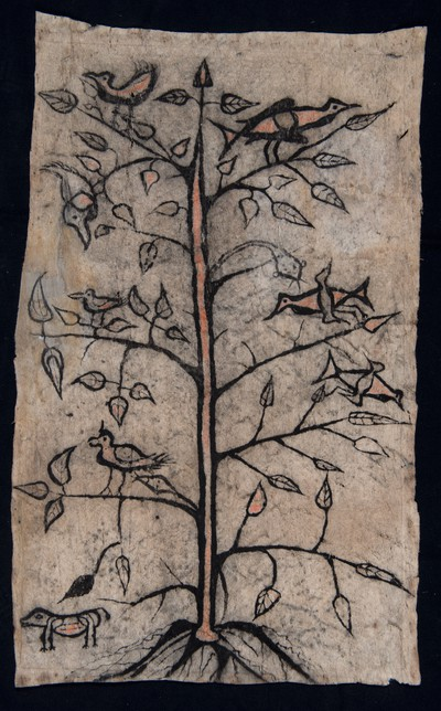 Painted barkcloth, depicting a tree with roots