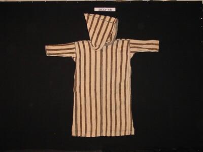 Bruin gestreepte mannenoverkleed van wol