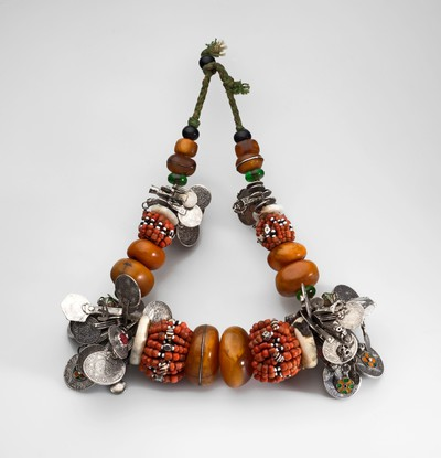 Necklace with beads and coins