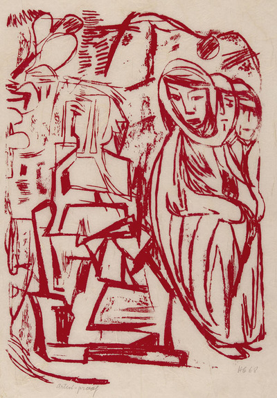 Untitled (Three Figures and City Scene)