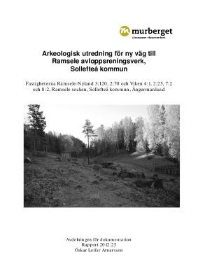 Arkeologisk utredning för ny väg till Ramsele avloppsreningsverk, Sollefteå kommun