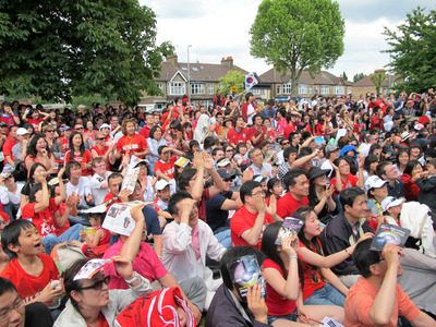 South Korean football supporters in New Malden, London