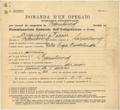 Documents de travail pour ouvriers italiens à la briquetterie de Bettembourg