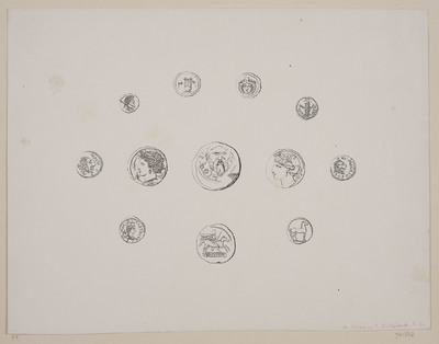 Blad med 12 forskellige antikke mønter