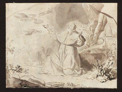 Biskup w pustelni karmiony przez ptaki