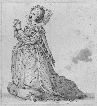 Projekt rzeźby do epitafium - klęcząca kobieta