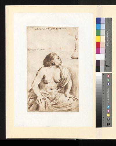 Karykaturalnie przedstawiona półnaga kobieta