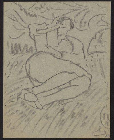 Szkic leżącej kobiety czytającej książkę