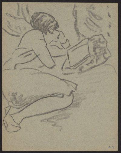 Szkic kobiety leżącej na łóżku, czytającej książkę